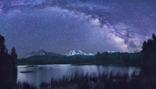 The Milky Way over Lake Manzanita with the Chaos Crags, Lassen Peak and Brokeoff Mountain in the background (Wally Pacholka, astropics.org)