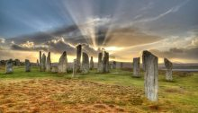 The standing stones of Calanais, on the Isle of Lewis, at mid summer (source: BBC)