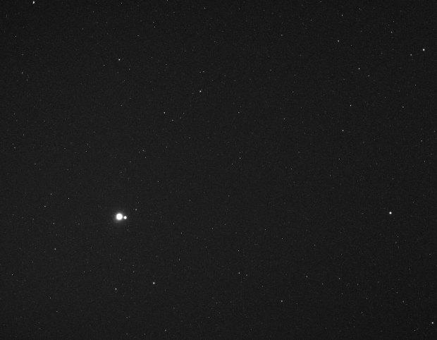 La tierra y la luna vistas desde Mercurio
