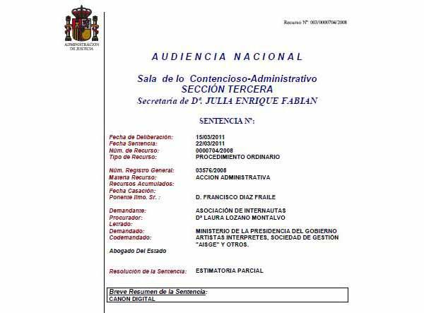 Sentencia de la Audiencia Nacional contra el canon digital (2011)