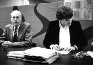 Productievergadering met Hub Berkers voor de Sterrenshow (VARA 1984-1986), decor: Hub Berkers. Collectie Hub Berkers / NIBG