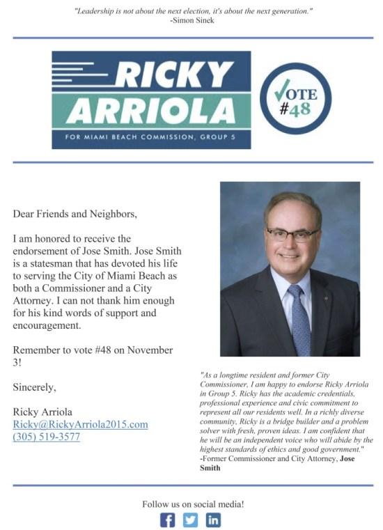 Arriola Endorsement