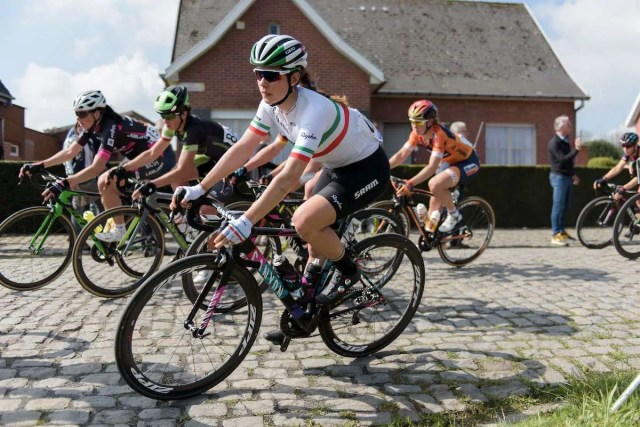 Elena Cecchini approaches the base of Leberg at the Women's Ronde van Vlaanderen 2017. A 153 km road race on April 2nd 2017, starting and finishing in Oudenaarde, Belgium. (Photo by Sean Robinson/Velofocus)