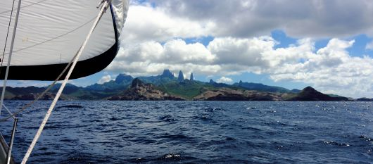 Ua Pou coming into view during our sail from Nuku Hiva