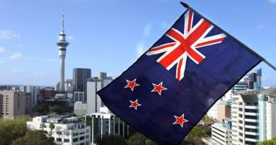 New Zealand National flag wave against Auckland city skyline, New Zealand.