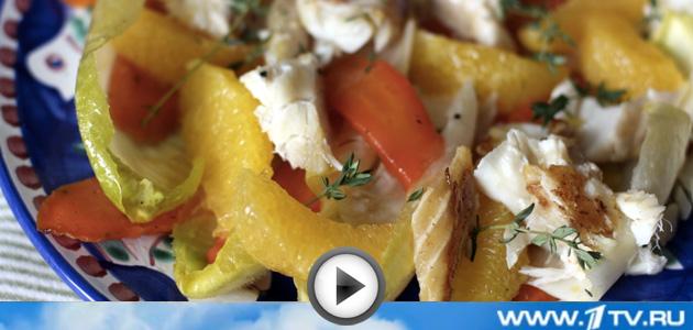 Салат с треской горячего копчения рецепт с