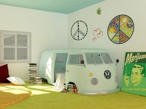 VW Camper Bed in a Bedroom
