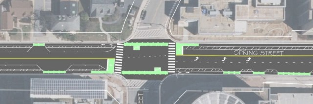 Proposed intersection for the Spring Street protected bike lane include bike boxes, 2 stage turn markers and colored conflict areas