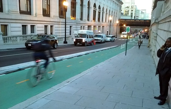 DC's First st protected bike lane installed in 2015 (Photo credit Mike Goodno)