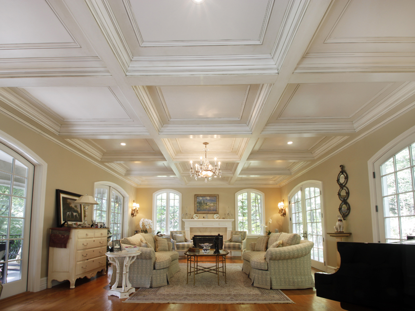 Coffered ceilings wainscot solutions inc for Coffered ceiling paint ideas