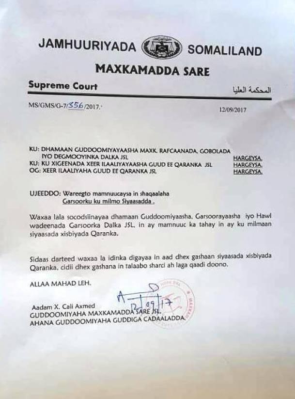 wareegtada gudoomiyaha maxkmada sare