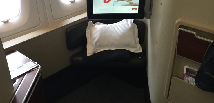 My seat, A1 on the Qantas A380 flight QF7 from Sydney to Dallas Fort Worth