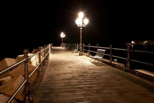 Nighttime Amalfi coast