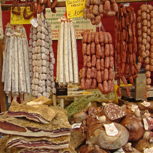 Local delicacies for sale at Florence Christmas Market