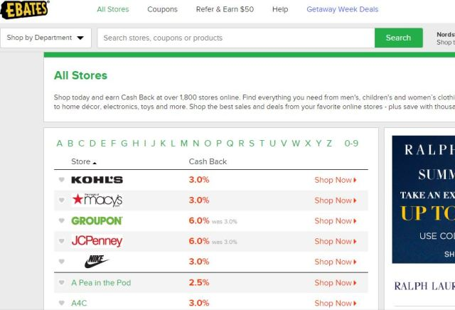 All stores links on ebates