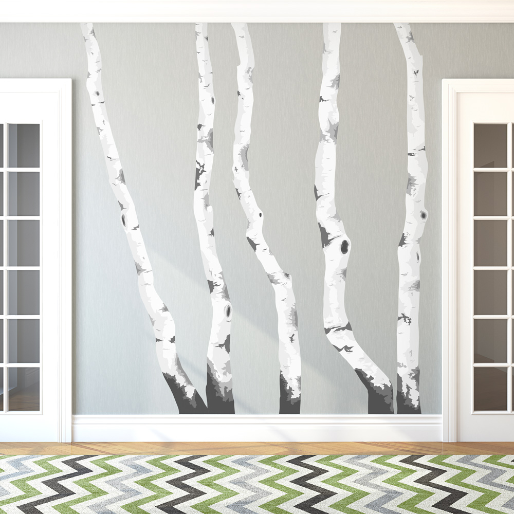 Eye Frames Wide Printed Birch Trees Wall Decal Tree Wall Decal Stickers Tree Wall Decal houzz 01 Tree Wall Decal