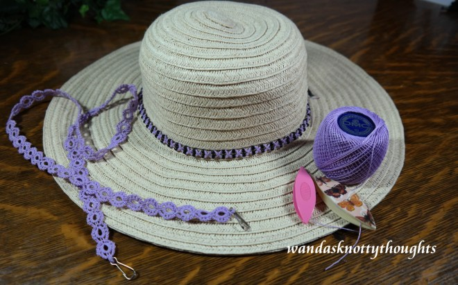 Tatted hatband and lanyard in DMC Cebelia Lavender size 10 on wandasknottythoughts