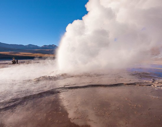 Steam rises from an erupting geyser high in the Andes mountains in Chile