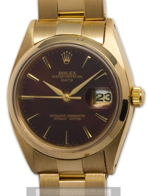 """Rolex 18K YG Oyster Perpetual Date circa 1978 """"Rootbeer"""""""