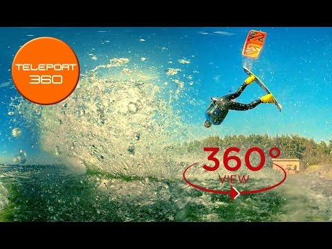 Kitesurfing video 360 degrees. Amazing jumps (VR experiment in extreme sports)