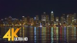 4K UHD Seattle at Night – Urban Relax Video, View from Alki Beach Trail – 3 Hours