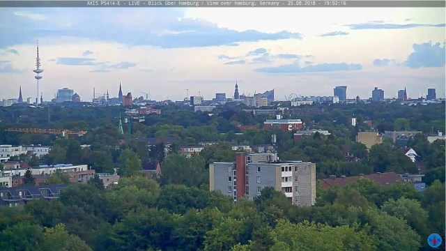 Axis P5414-E – LIVE – 24/7 – Blick über Hamburg / View over Hamburg, Germany