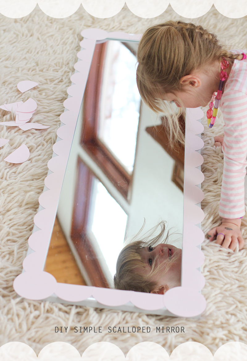 Update a plain mirror with a scalloped border for a girl's room