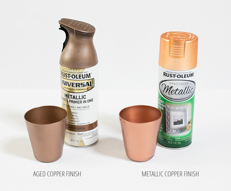comparison of two different copper spray paint finishes. Black Bedroom Furniture Sets. Home Design Ideas