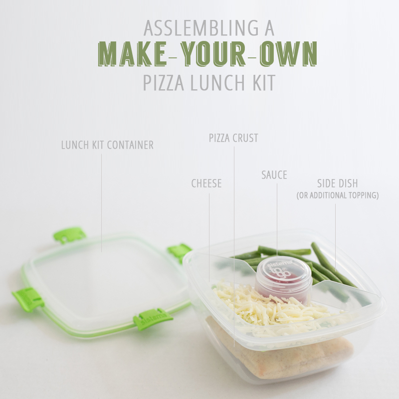 My daughter is always asking for Lunchables and Revolution lunch kits, so I created a homemade version of an assemble-your-own pizza kit.