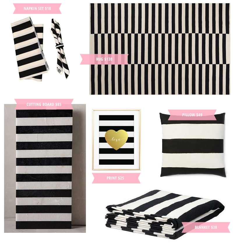 Six simple and affordable ways to add stylish black-and-white stripes to your home decor.