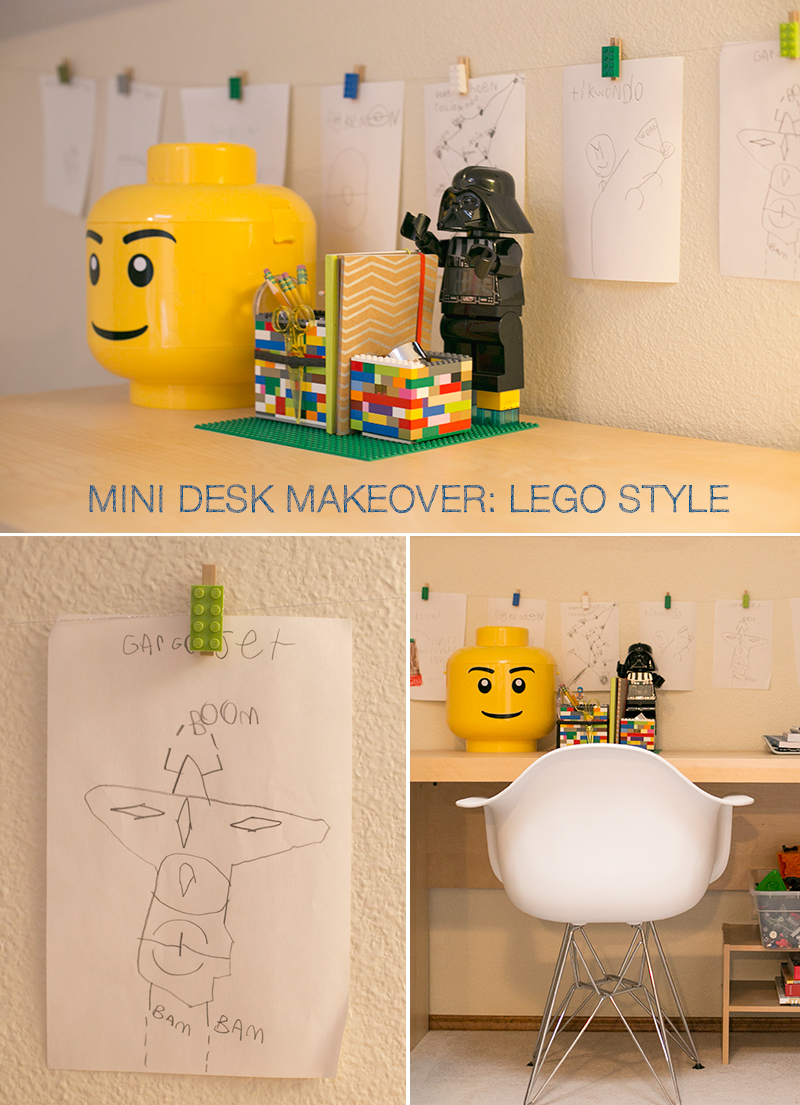 A mini makeover of my son's desk including two super easy Lego DIY desk projects.