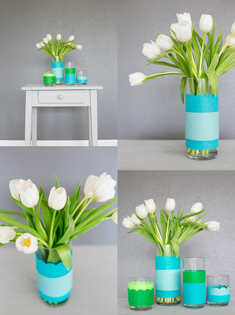 Super simple and stylish update for spring decor: leather and felt colorblock vases. See the step-by-step tutorial.