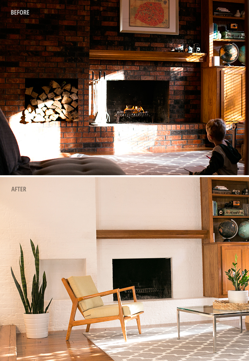 Painting a brick fireplace: the before and after of our living room