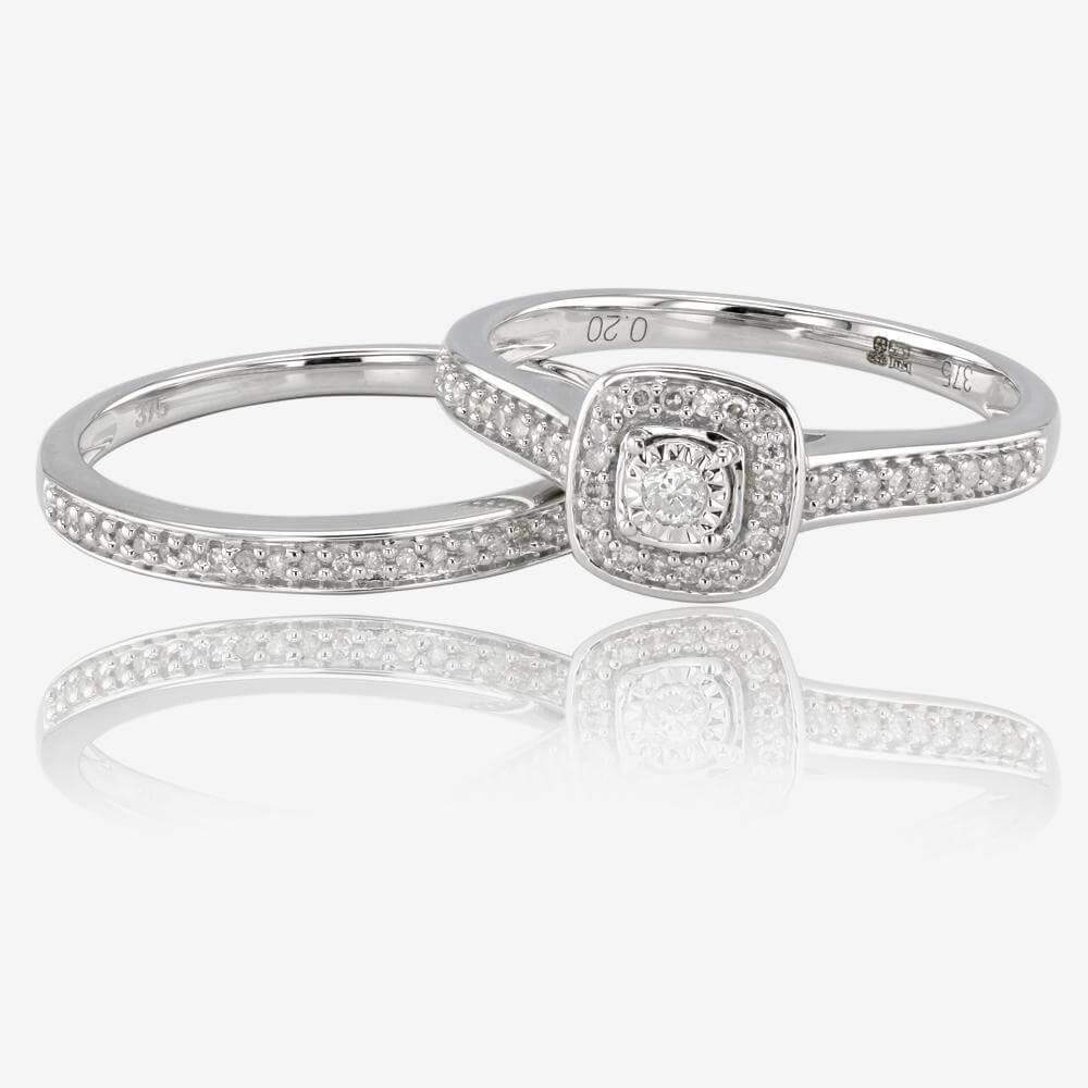 wedding rings wedding rings 9ct White Gold Diamond Cluster Bridal Set