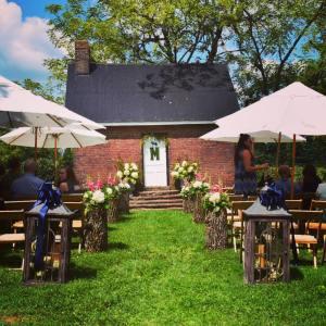 Outdoor Wedding Ceremony with Umbrellas