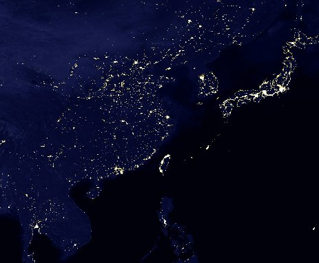North Korea at night from space