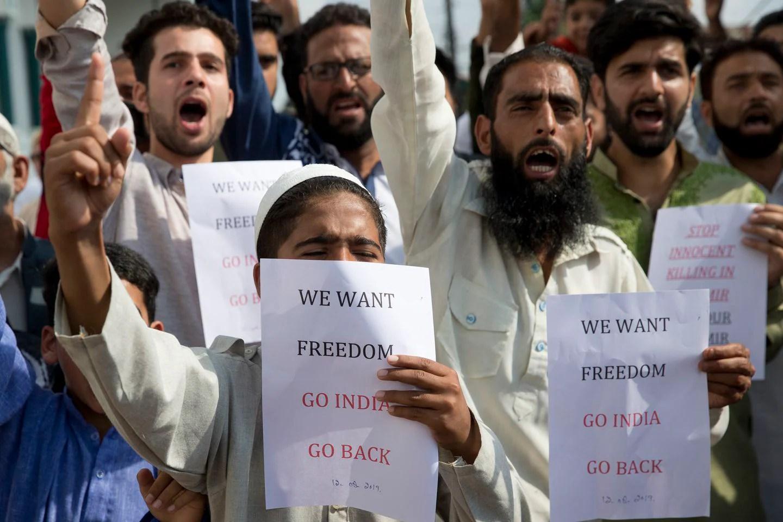Kashmiri Muslims protested after Eid prayers in Srinagar on Monday. (Dar Yasin/AP)