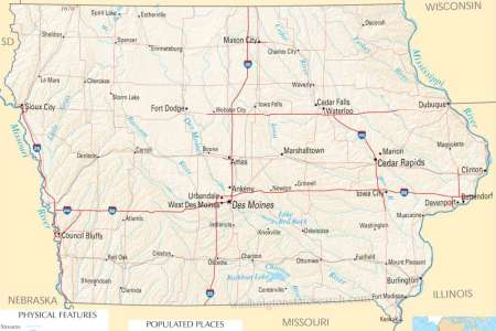 iowa state map a large detailed map of iowa state usa