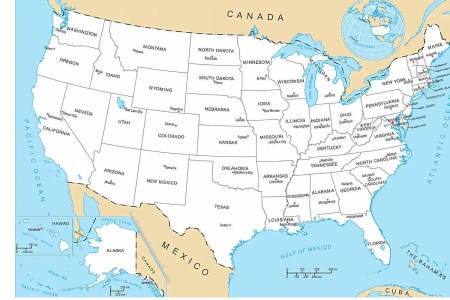 united states map with all states & capital cities