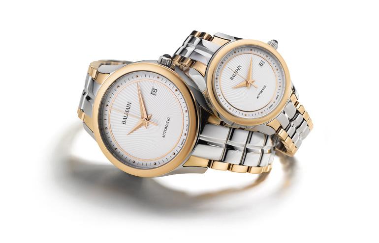 Balmain Maestria Round Automatic pair watches avec bracelet bicolore
