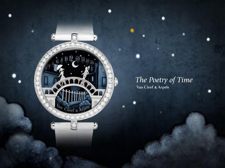 La montre Pont des Amoureux de Van Clee & Arpels dans une ambiance de nuit