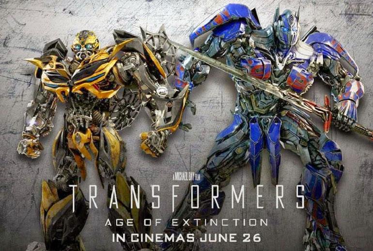 Poster de Transformers : L' ge de l'extinction avec les deux héros