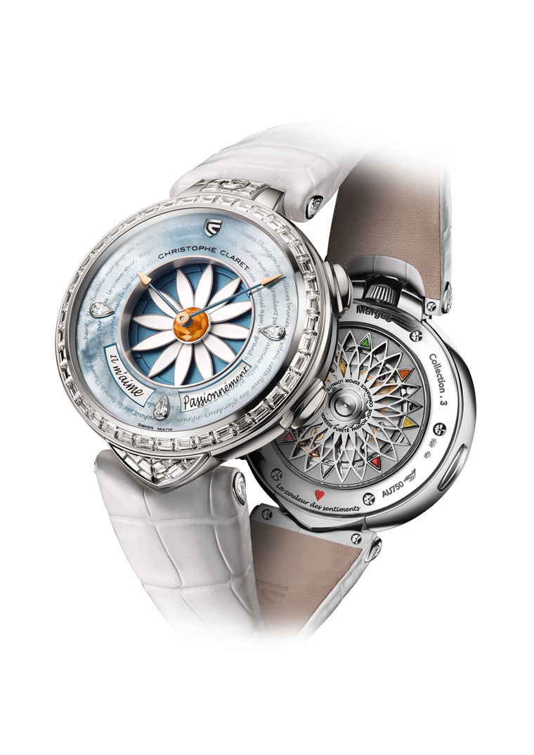Christophe Claret Margot or gris diamants baguette