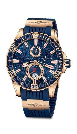 Ulysse Nardin Marine Diver Gold Or Bleu vue soldat