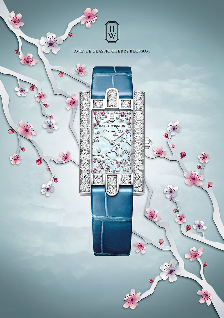 Harry Winston: The Avenue Collection - Avenue Classic Cherry Blossom - Front avec cerisier