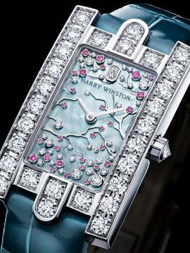 Harry Winston The Avenue Collection: Avenue Classic Cherry Blossom - Front View - Bracelet sur noir