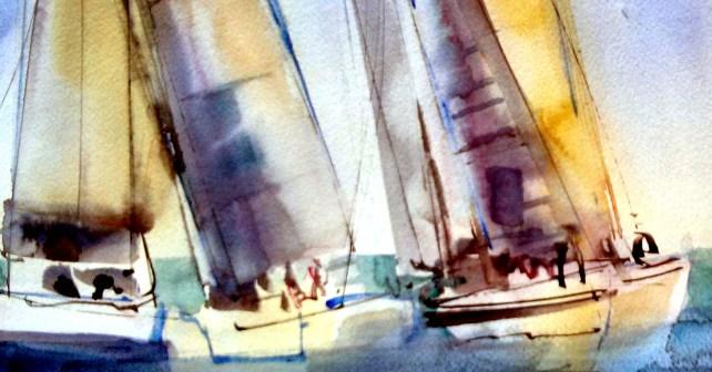 acuarela veleros