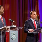 Jacksonville Mayor Alvin Brown and challenger Lenny Curry took part in a first round of debates hosted by the JU Public Policy Institute March 18.