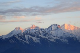 Langtang Himal range at dawn.
