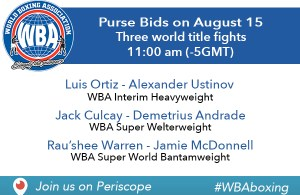 WBA Purse Bids on August 15